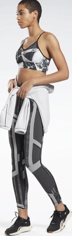 Reebok Lux Leggings quarter view with jacket