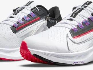 Nike Air Zoom Pegasus 38 FlyEase White-Black-Flash Crimson-Metallic Silver quarter view