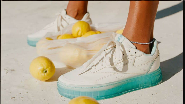 Reebok Club C Double GEO Womens Shoes lemons on the beach