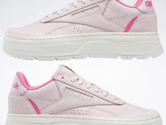 Reebok Club C Double Geo Womens Shoes Frost Berry Chalk Atomic Pink upside down pair