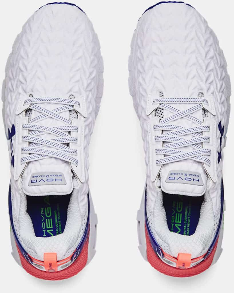 Mens UA HOVR Mega 2 Clone Running Shoes White Royal top view