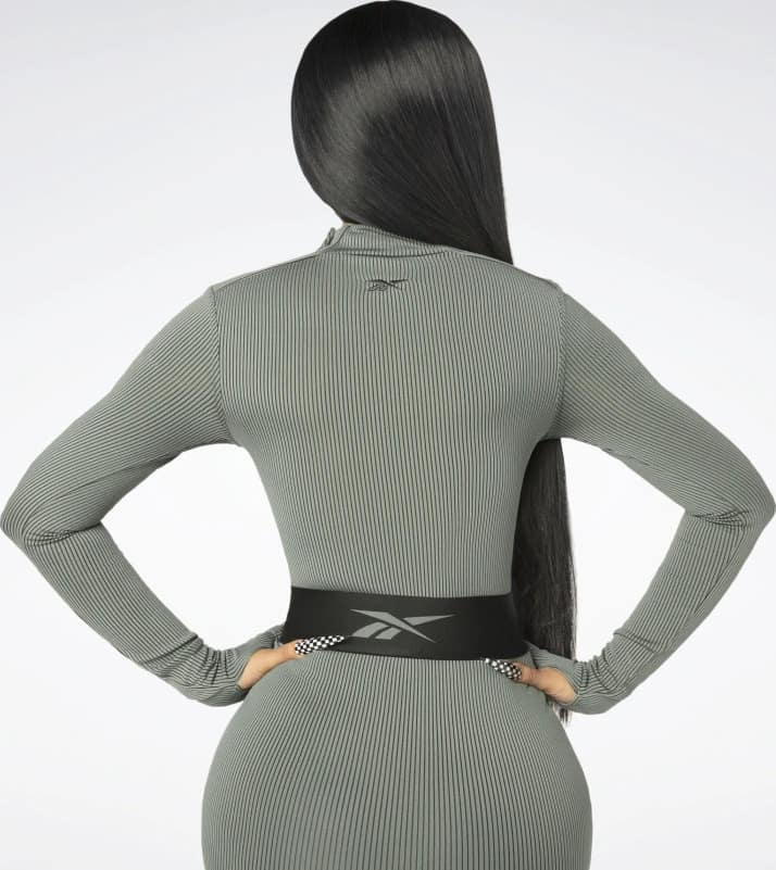 Reebok Cardi B Bodysuit Plus Size worn back