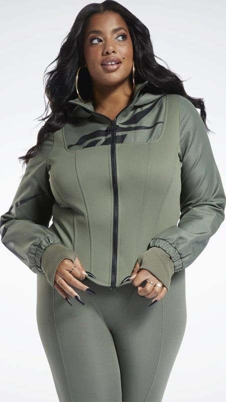 Reebok Cardi B Corset Hoodie Plus Size worn front